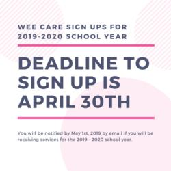 Wee Care Sign Ups for 2019 - 2020