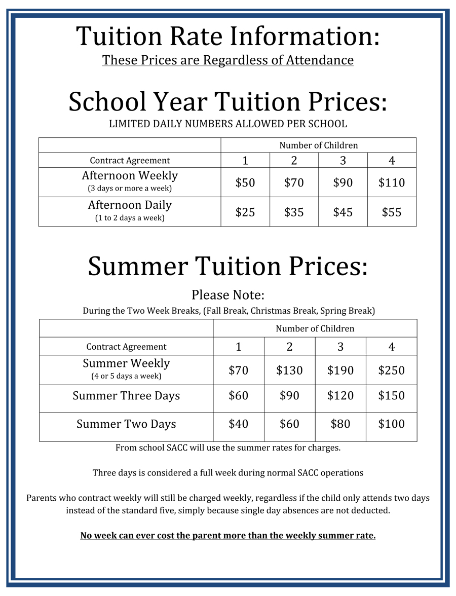 TUITION RATE INFORMATION